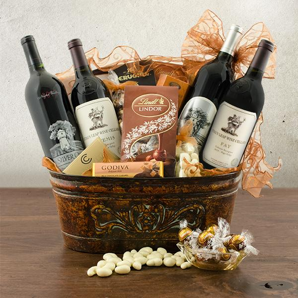 4 bottle wine baskets red and white wine bottle baskets at stags leap and silver oak quartet wine gift basket negle Images