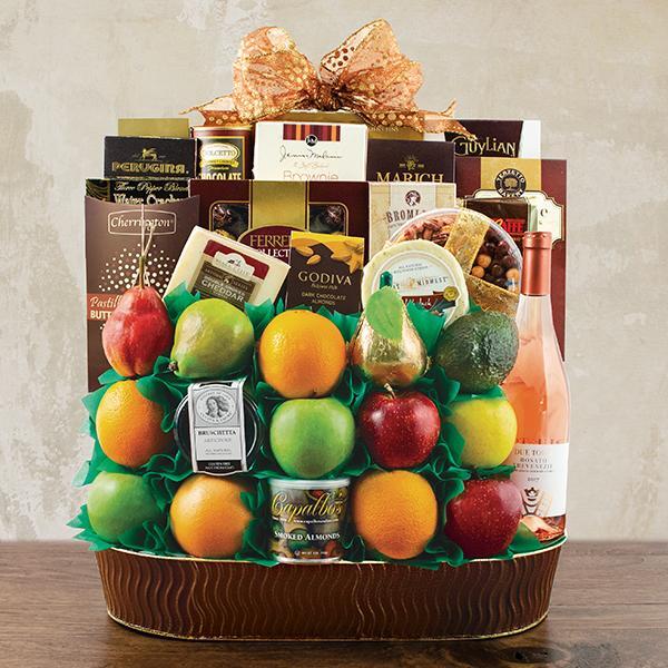 Trafalgar Square Fruit & Wine Gift Basket