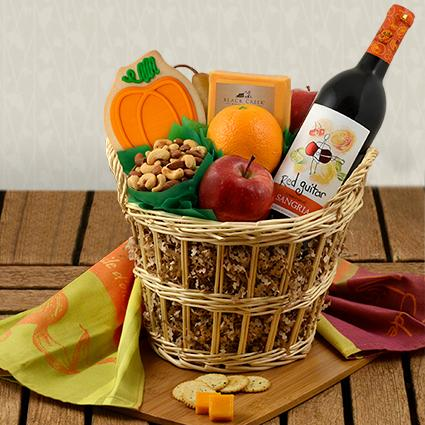 Autumn Wonder Red Wine & Fruit Gift Basket