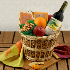 Autumn Wonder Red Wine & Fruit Gift Basket