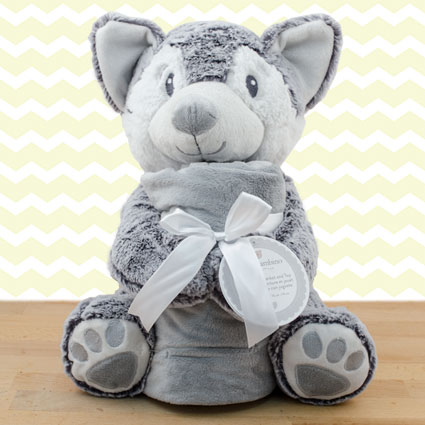 Baby's First Blanket & Wolf Gift Set