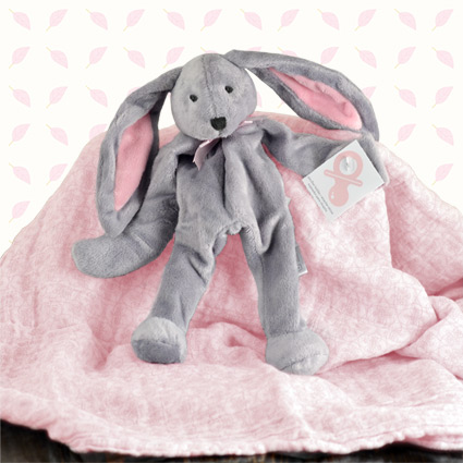 Baby Girl Bunny Pacifier Holder & Swaddle Gift Set
