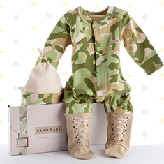 baby boy camo layette set