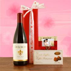 Be Mine Red Wine & Truffles Gift Basket