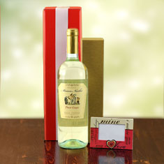 Be Mine White Wine & Truffles Gift Basket