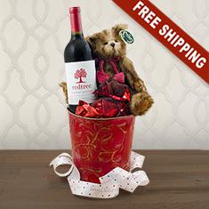 Be My Valentine Bear & Wine Gift Basket
