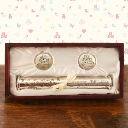 Birth Certificate, First Tooth & Curl Rosewood Keepsake Box