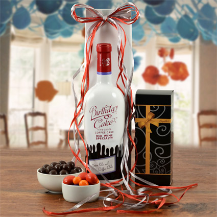 Birthday Cake Red Wine Gift Basket
