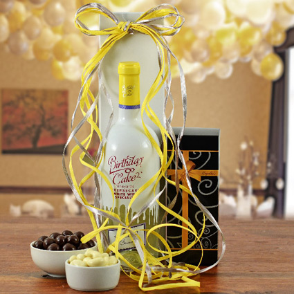 Birthday Cake White Wine Gift Basket