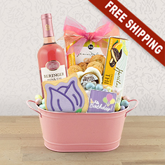 Birthday Wishes White Wine Gift Basket