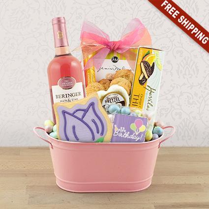 Birthday Wishes White Wine Gift Basket
