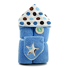 Blue Dots Hooded Towel & Washcloth Gift Set