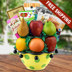 Bon Appetit Fresh Fruit & Ceramic Bowl Gift Basket
