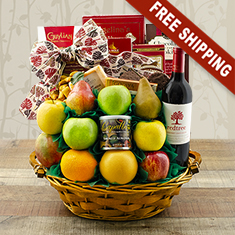 CEO Fruit & Merlot Wine Gift Basket