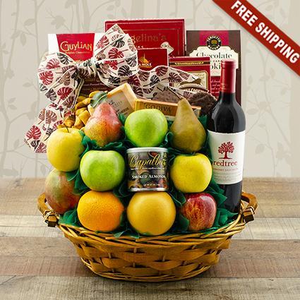 CEO Fruit & Cab Sauv Wine Gift Basket