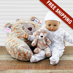 Camo Bear Lounger & Stuffed Animal Rattle Duo Gift Set