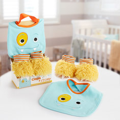 Chomp & Stomp Monster Boy Bib & Booties Gift Set