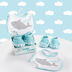 Chomp & Stomp Shark Boy Bib & Booties Gift Set