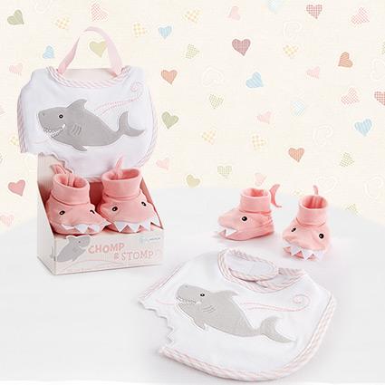 Chomp & Stomp Shark Girl Bib & Booties Gift Set