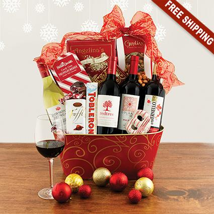 christmas wonder wine quartet gift basket