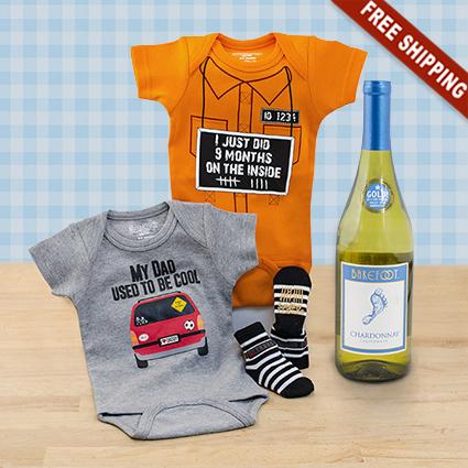 Cool Guy Bodysuits & Wine Gift Set
