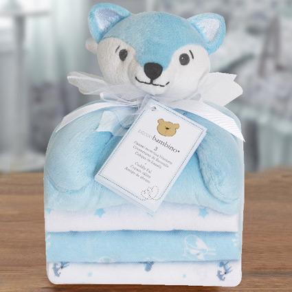 Cuddly Pal Blue Fox & Flannel Blankets Gift Set