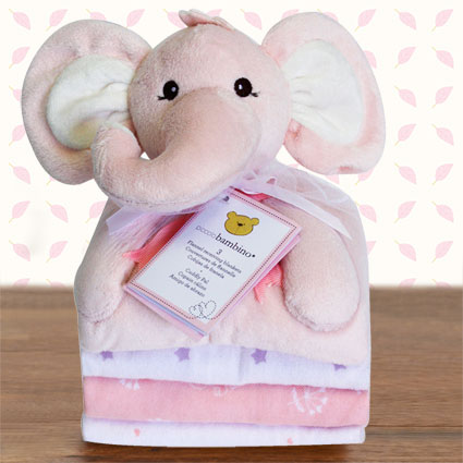 Cuddly Pal Elephant & Flannel Blankets Gift Set