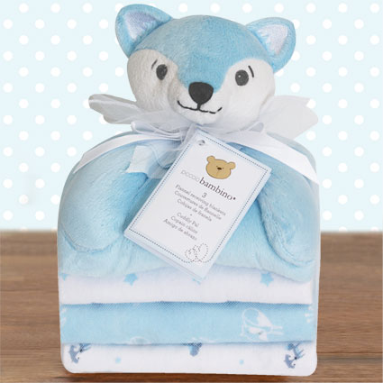 Cuddly Pal Blue Fox & Flannel Blankets Gift Set