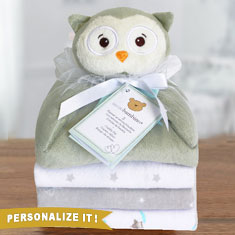 Cuddly Pal Owl & Flannel Blankets Gift Set