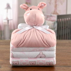 Cuddly Pals Hippo & Flannel Blankets Gift Set