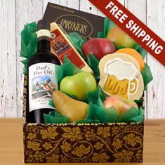 Dad's Day Off Fruit, Cheese & Red Wine Gift Box