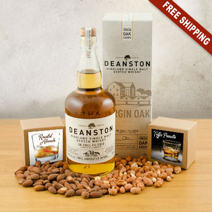 Deanston Single Malt Scotch & Snacks Gift Basket