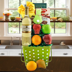 Easter Delight White Wine & Fresh Fruit Gift Basket