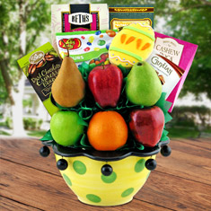 Easter Fruit Basket Ceramic Centerpiece
