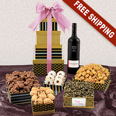 Easter Red Wine & Classic 5-Box Snack Tower Gift Set