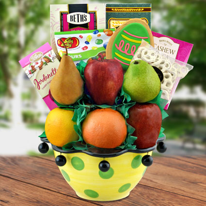 Easter Fruit Basket Ceramic Centerpiece