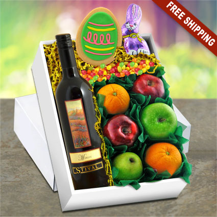 Easter Red Wine & Fruit Gift Box