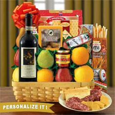 Festa Italiana Chianti & Fruit Gift Basket