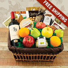 Fifth Avenue Fruit & Wine Gift Basket