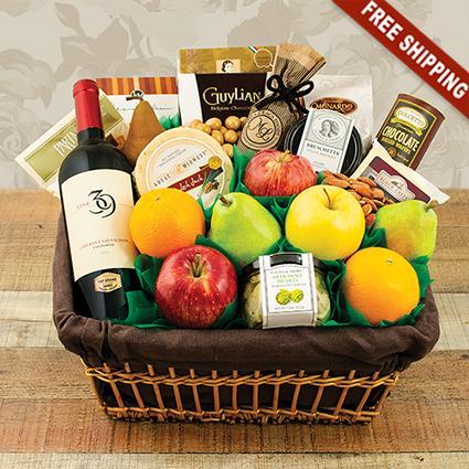 Fifth Avenue Fruit & Wine Gift Basket