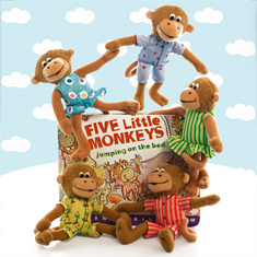 Five Little Monkeys Board Book & Finger Puppet Playset