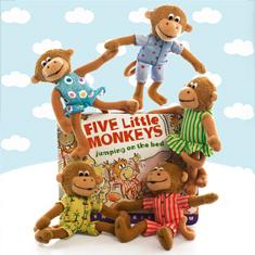 Five Little Monkeys Board Book & Finger Puppet Playset