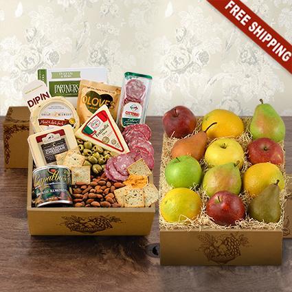 Fruit & Cheese Bonanza Double Decker Gift Box