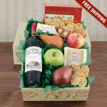 Fruit, Cheese & Stone Cellars Merlot Wine Gift Box