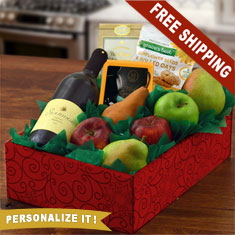 Fruit, Cheese & Sea Ridge Merlot Wine Gift Box