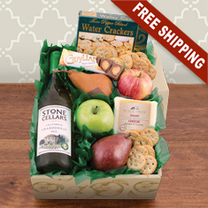 Fruit, Cheese & Stone Cellars Chardonnay Wine Gift Box
