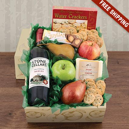 Fruit, Cheese & Stone Cellars Merlot Wine Gift Box