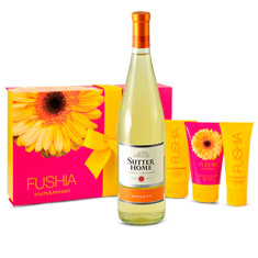 Fushia Body Care Spa & Moscato White Wine Gift Collection