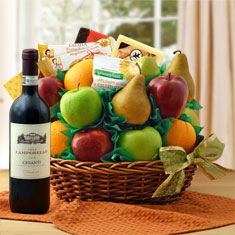 Garden Fresh Fruit and Chianti Wine Basket