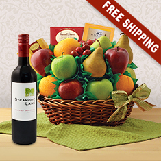 Garden Fresh Fruit and Moscato Wine Basket